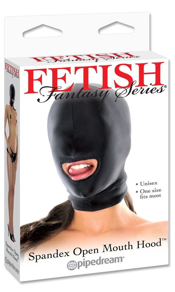 Fetish Fantasy Spandex Open Mouth Hood Black - The Chocolate Men Adult Store