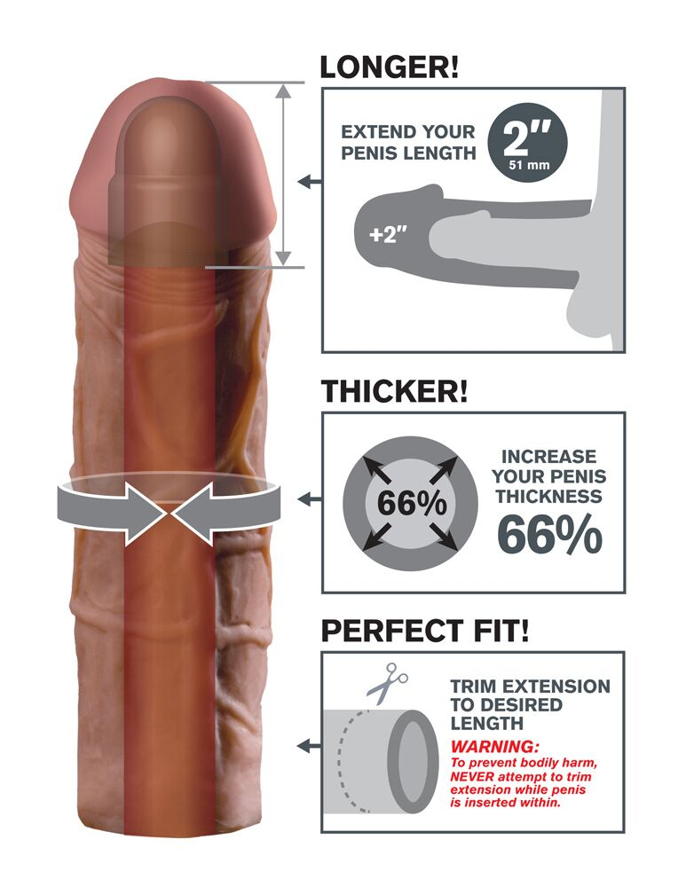 Fantasy X-tensions Mega Extension Brown 2in - The Chocolate Men Adult Store