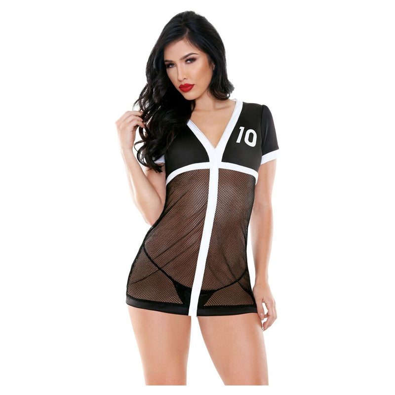 Fantasy Lingerie Play Team Playa 2pc Black/White XS/S - The Chocolate Men Adult Store