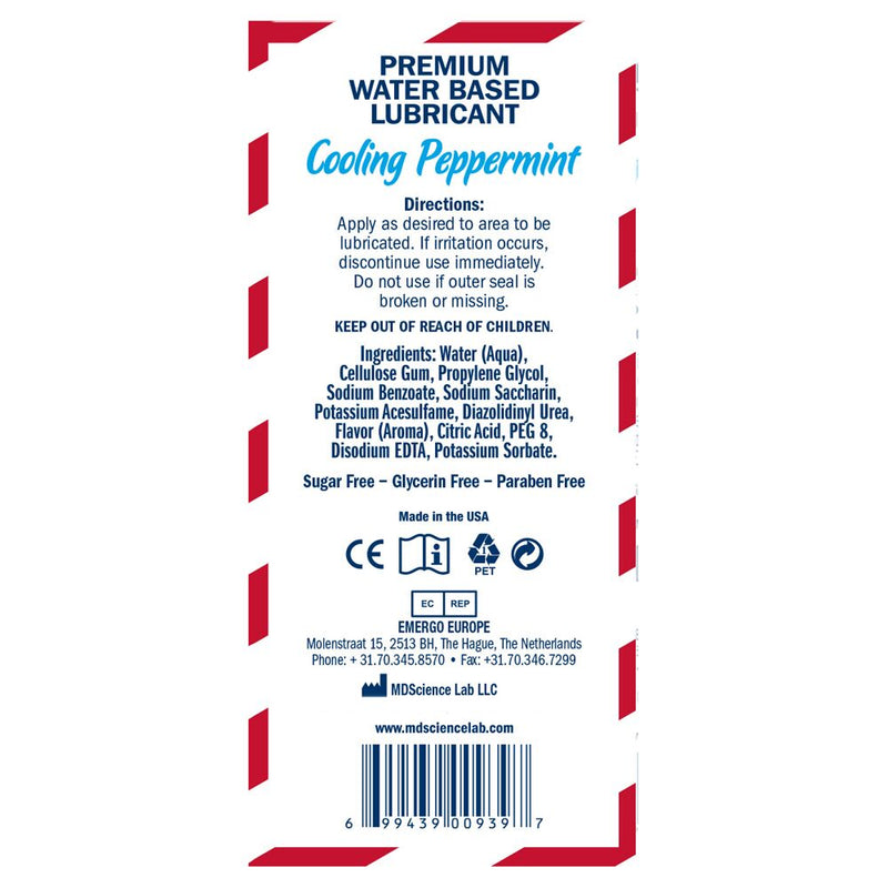 Swiss Navy Flavors Cooling Peppermint Transparent 4oz - The Chocolate Men Adult Store