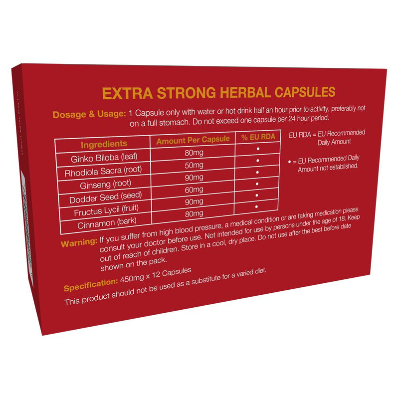 Extra Strong Male Tonic Enhancer Red x12 - The Chocolate Men Adult Store