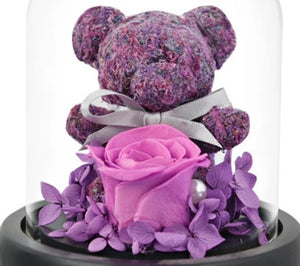 Limited Edition Rose Dome With Bear With Light