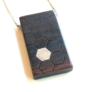 Cocobolo Wood and Sterling Inlay Necklace