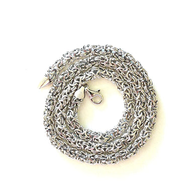 Rhodium-plated Sterling Silver Byzantine Chain