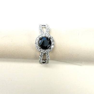 14kw True Origin Lab Grown Diamond VS/SI, D E F, S/M Round Halo Engagement Ring with .95ct Natural Black Diamond Center