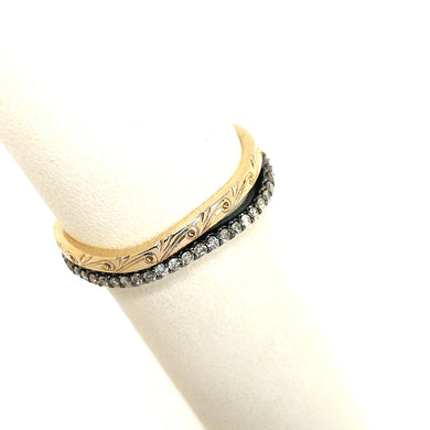 Flaunt and Flourish Chocolate Diamond and Engraved Gold Band