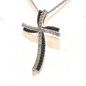 Silver Black Spinel & White Topaz Cross Necklace