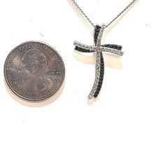Load image into Gallery viewer, Silver Black Spinel & White Topaz Cross Necklace