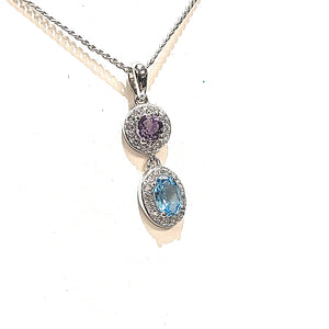 Silver Oval Blue Topaz and Round Amethyst Pendant