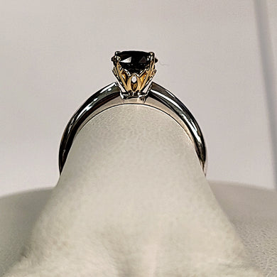 Black Diamond Ring with Gold Head and White Gold Ring