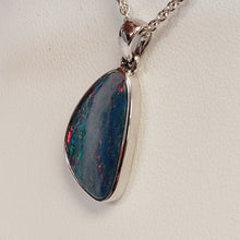 Load image into Gallery viewer, Sterling Silver Australian Blue Opal Doublet Pendant