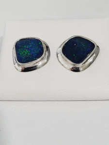 Sterling Silver Australian Green Flash Opal Doublet Earrings