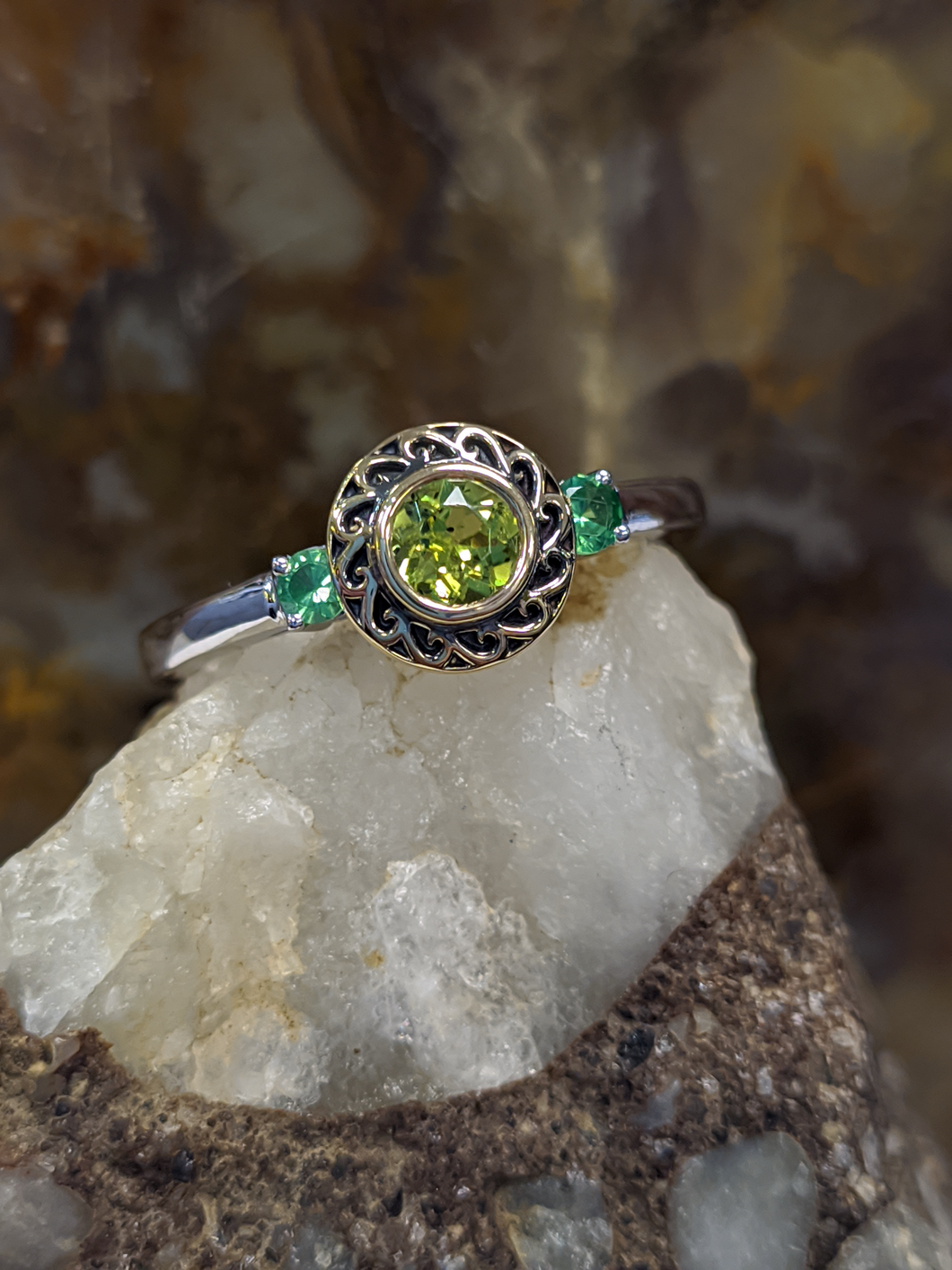 Monochromatic Green Ring With Peridot and Tsavorite