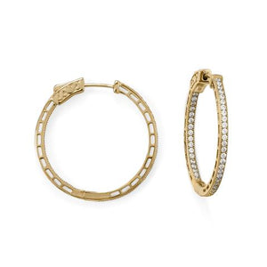 14 Karat Gold Plated Round In/Out CZ Hoop Earrings