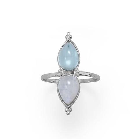 Pear Shaped Rainbow Moonstone and Blue Topaz Ring