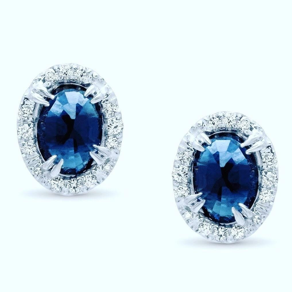 18kw blue Sapphire  upside down halo  studs with diamonds