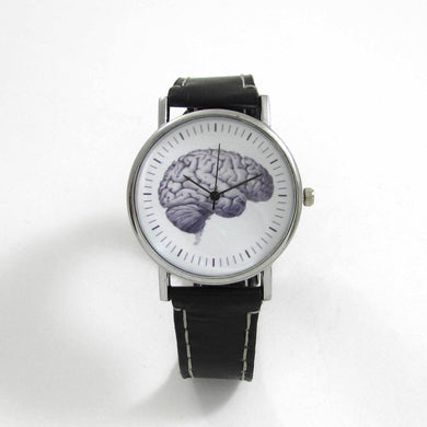 Anatomical Brain Black Leather Wrist Watch - TheExCB