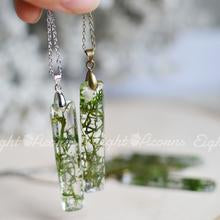 Rectangle moss necklace