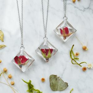 Pressed Rosebud Necklace