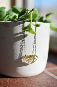 Semi-circle Brass Queen Anne's Lace Necklace