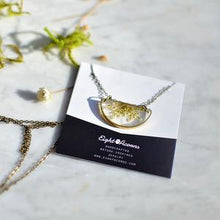 Load image into Gallery viewer, Semi-circle Brass Queen Anne's Lace Necklace