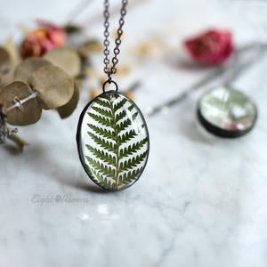 Cinnamon Fern Leaf Oval Necklace