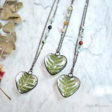Load image into Gallery viewer, Cinnamon Fern Leaf Heart Necklace