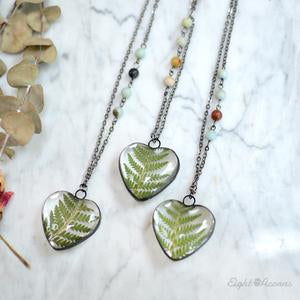 Cinnamon Fern Leaf Heart Necklace