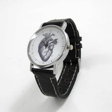 Load image into Gallery viewer, Anatomical Heart Black Leather Wrist Watch - TheExCB