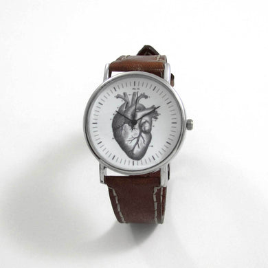 Anatomical Heart Brown Leather Wrist Watch - TheExCB