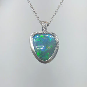 Green Blue on Grey Opal Necklace