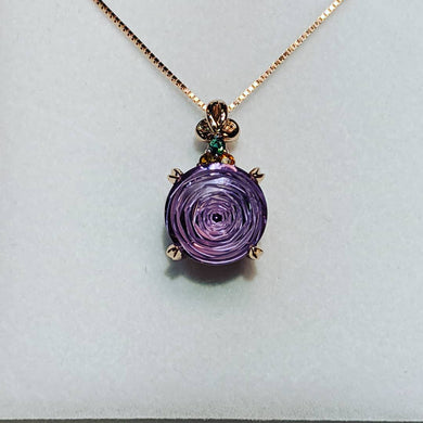 Custom Rose Cut Amethyst Necklace