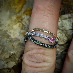 Unique Combination of Diamonds, Tsavorites, and Pink Tourmaline