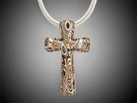 Mokume cross neck - copper, brass, SS 32*21mm