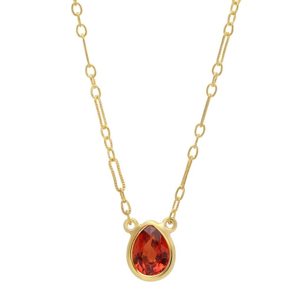 sterling yellow gold vermeil fire orange sapphire1.30ct pear 16-18