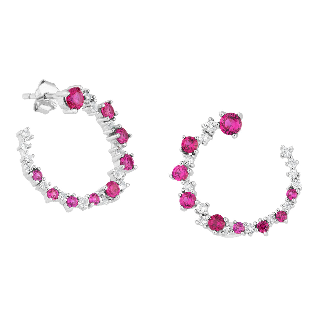 Created Ruby and CZ Silver Earrings