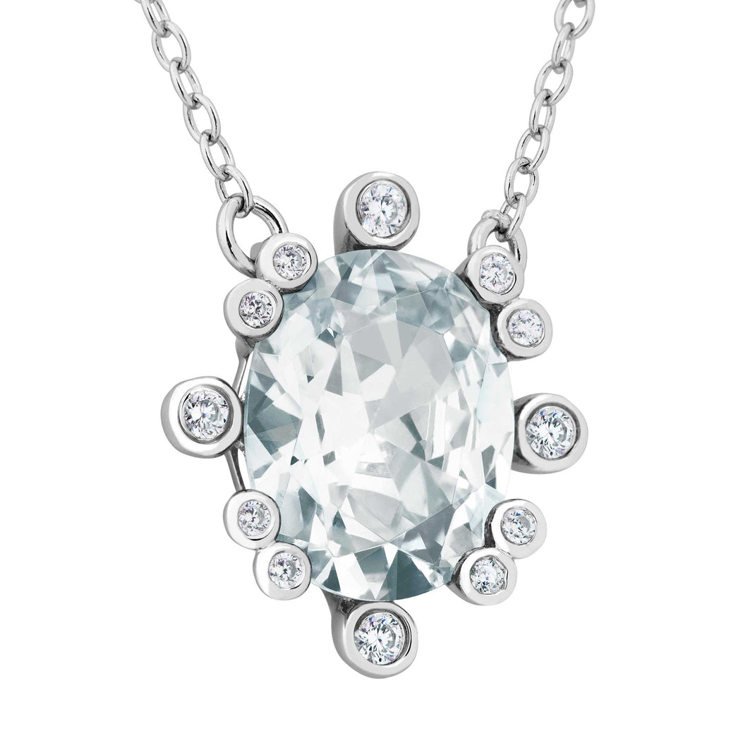 Sterling Silver White Topaz and CZ Necklace