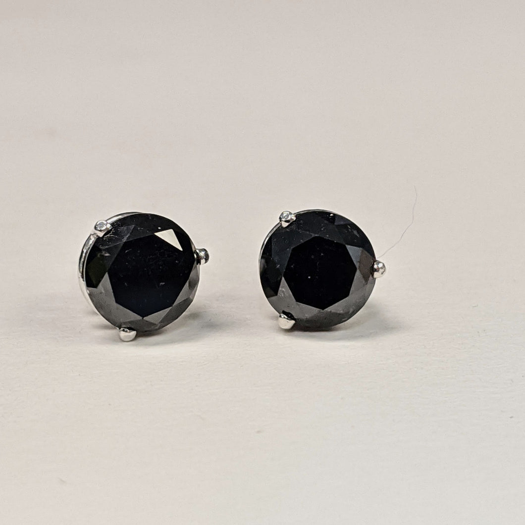 4.33ctw Black Diamond Studs 3p 14KW