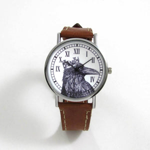 Raven King Brown Leather Wrist Watch - TheExCB
