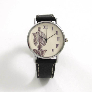 Anatomical Rib Black Leather Wrist Watch - TheExCB