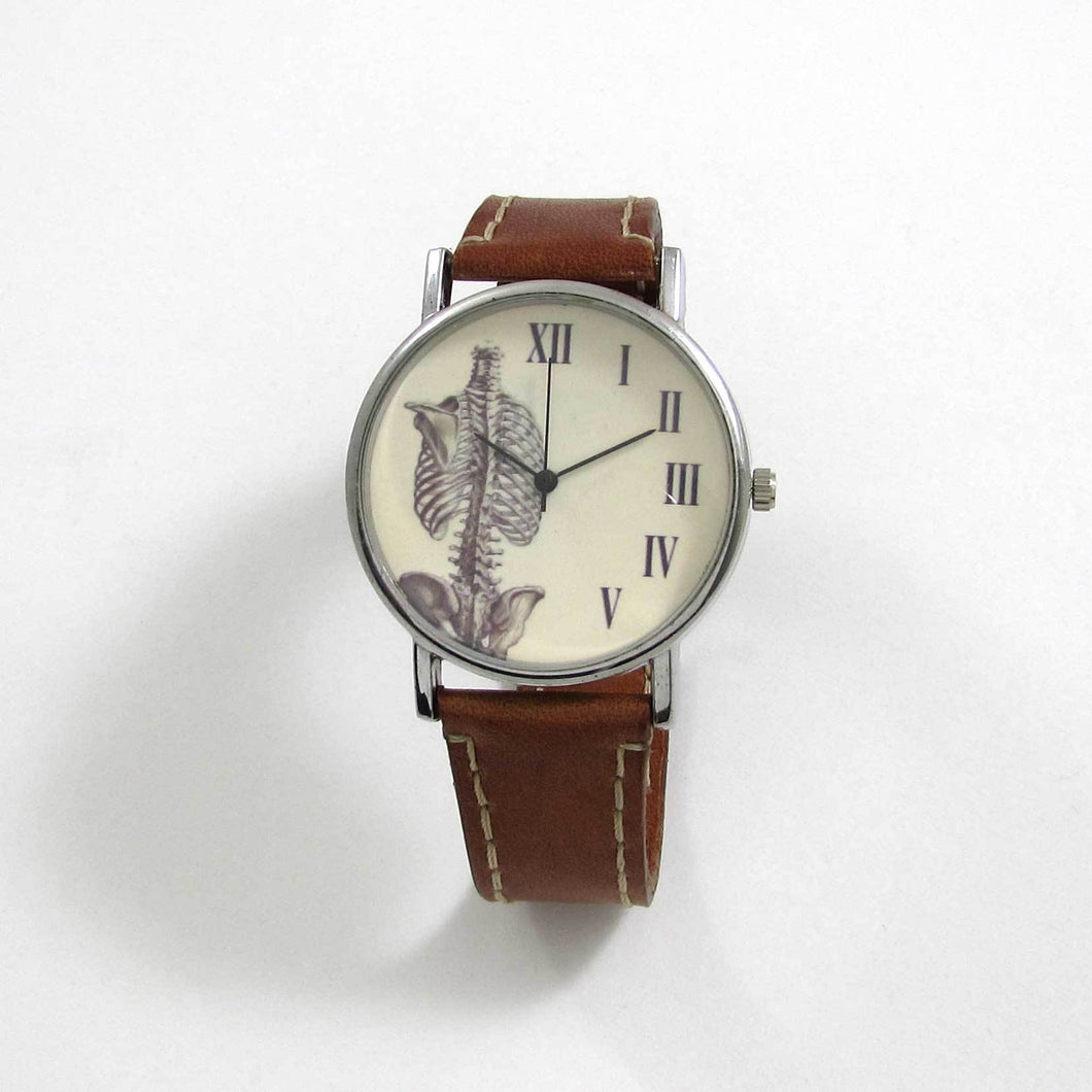 Anatomical Rib Brown Leather Wrist Watch - TheExCB