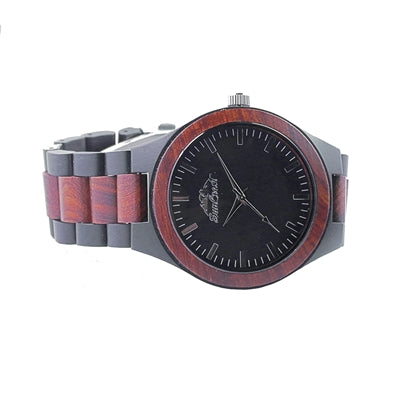 Two Tone Watch made of Red and Ebony Sandalwood Featuring Japanese Movement