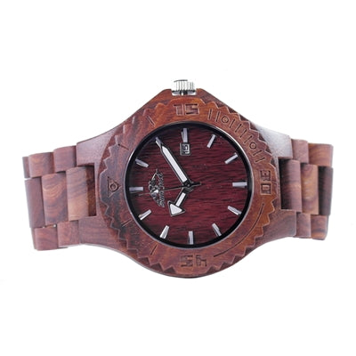 Teak Wood Watch Featuring Date and Japanese Movement
