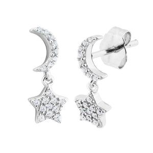 CZ Star and Moon Silver Earrings
