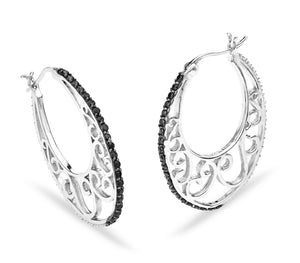 Silver Filigree with Black CZ Accent Trimmings Hoop Style Earrings