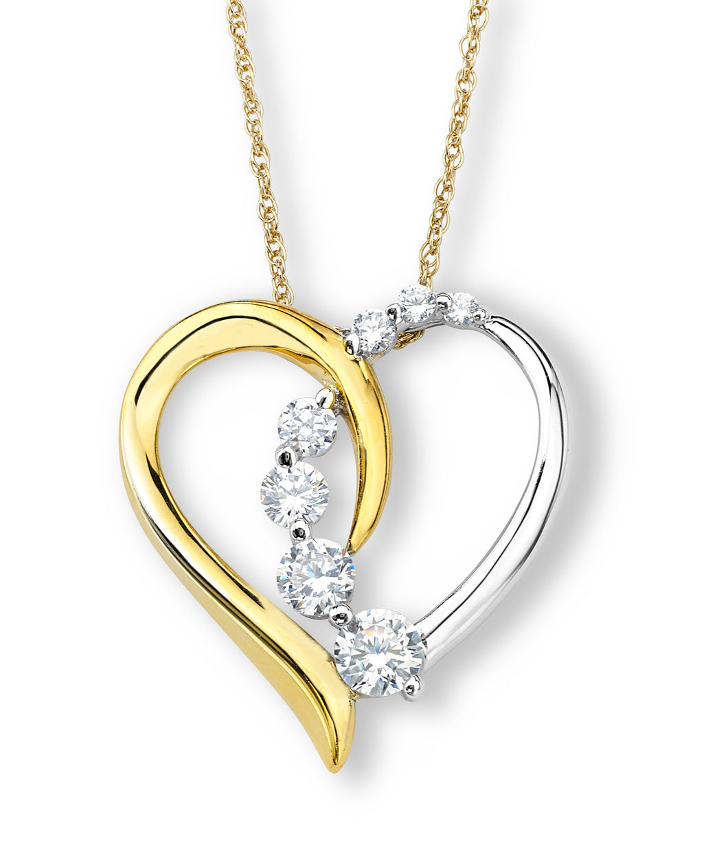 Sterling Silver and Gold Plated Heart with Cz Stones Ascending Down
