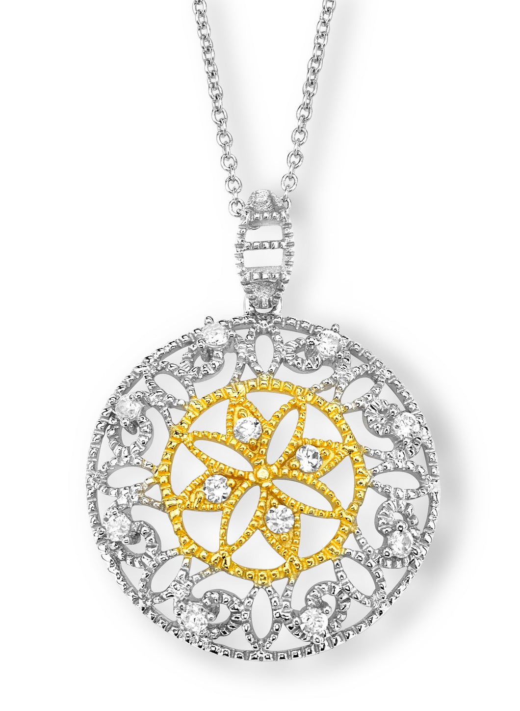 Silver and Gold Plated CZ Antique Style Fashion Necklace