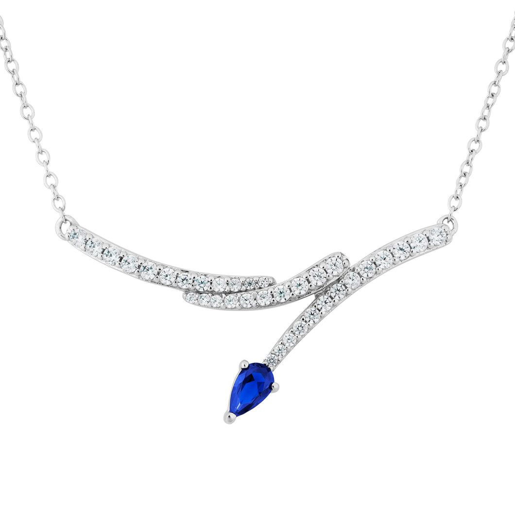 Blue Sapphire Tone and Sparkling CZ Silver Necklace