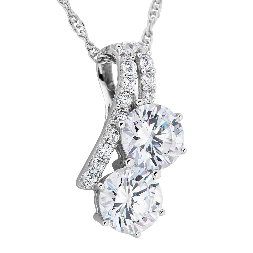 Two Stone CZ Silver Necklace