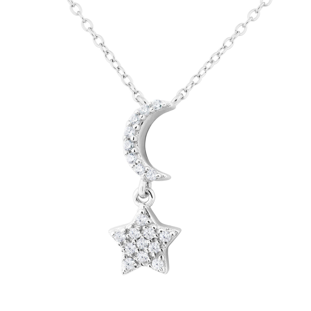 Silver and CZ Moon and Star Necklace